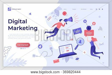 Landing Page Template With Man And Woman Holding Bullhorn. Digital Marketing, Smm, Website Content P