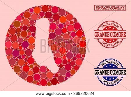 Vector Map Of Grande Comore Island Mosaic Of Circle Dots And Red Grunge Stamp. Stencil Round Map Of