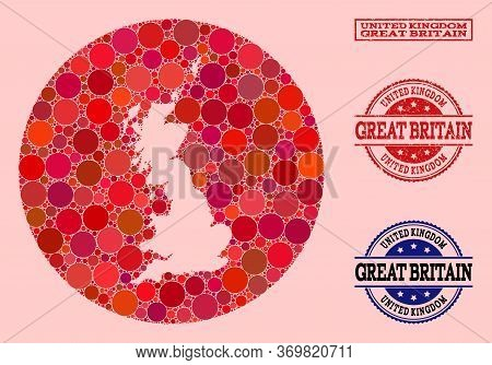 Vector Map Of Great Britain Collage Of Round Elements And Red Grunge Stamp. Stencil Round Map Of Gre