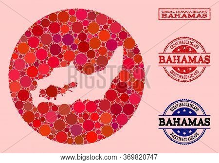 Vector Map Of Great Inagua Island Collage Of Circle Dots And Red Grunge Seal. Subtraction Round Map