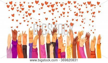 Human Hands Rised Up And Sending Love, Appreciation, Connection And Support. Dating App, Searching F