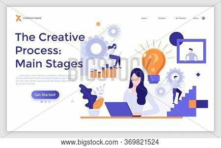 Landing Page Template With People Creating Ideas And Steps Of Project Development. Concept Of Stages