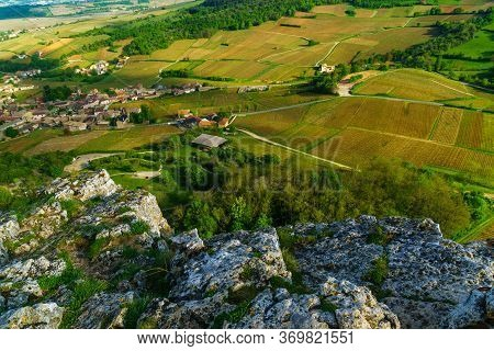 Landscape Of Vineyards And Countryside, Viewed From The Rock Of Solutre (la Roche), In Saone-et-loir