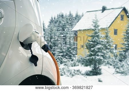 Close Up Of Electric Car In Winter