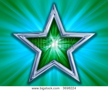 Star On Green Background