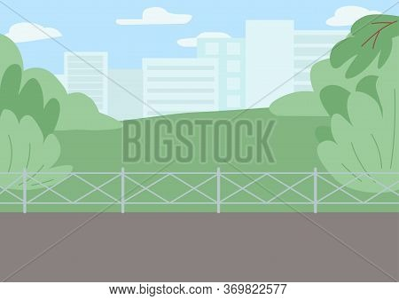 Sidewalk In Park Flat Color Vector Illustration. Pavement With Borders Near Lawn. Greenery Behind Wa