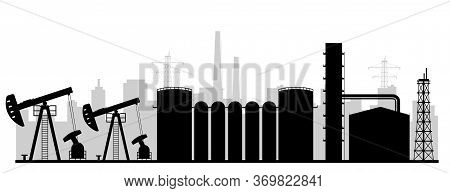 Refinery Plant Black Silhouette Vector Illustration. Industrial Gas Extraction Facility Monochrome L