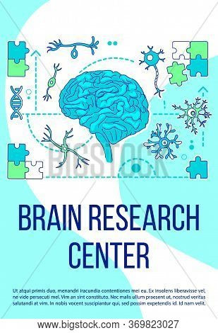 Brain Research Center Poster Flat Silhouette Vector Template. Neurology Clinic Brochure, Booklet One