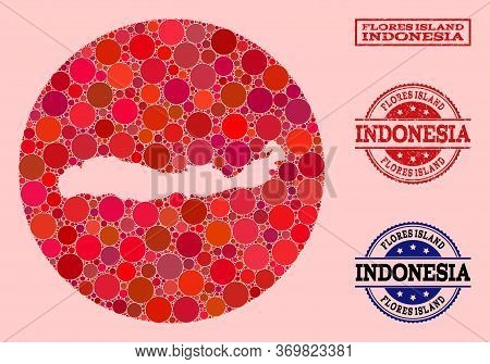 Vector Map Of Indonesia - Flores Island Mosaic Of Round Items And Red Scratched Seal Stamp. Stencil