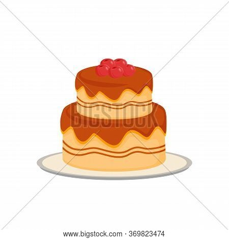 Delicious Cake Cartoon Vector Illustration. Served Sweet Pastry, Creamy Bakery Flat Color Object. Co
