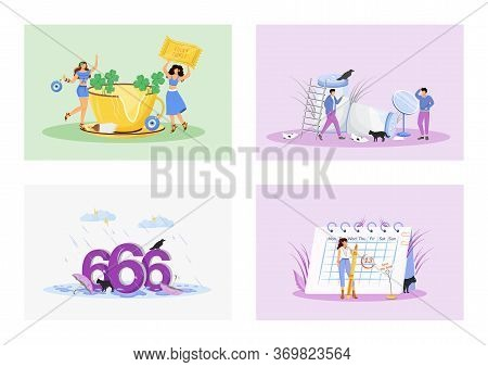 Superstitions Flat Concept Vector Illustrations Set. Good And Bad Luck Metaphors. Superstitious Peop