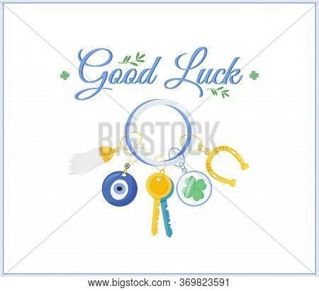 Fortune Amulets Social Media Post Mockup. Good Luck Phrase. Web Banner Design Template. Superstition