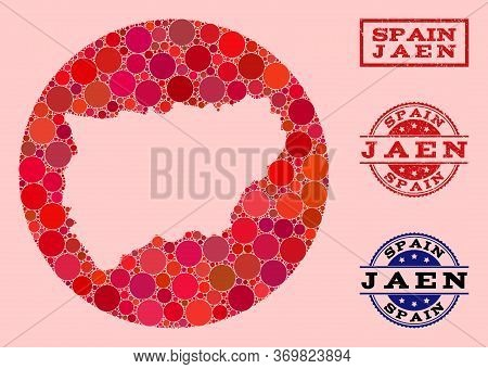 Vector Map Of Jaen Spanish Province Collage Of Round Dots And Red Rubber Seal. Hole Round Map Of Jae