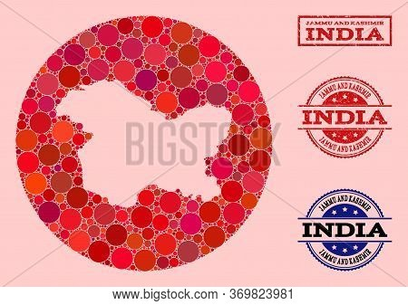 Vector Map Of Jammu And Kashmir State Collage Of Round Blots And Red Watermark Stamp. Stencil Circle