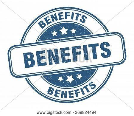 Benefits Stamp. Benefits Round Grunge Sign. Label
