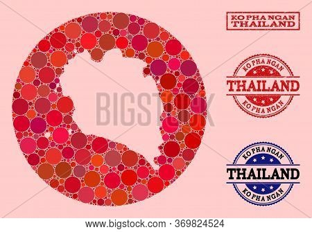 Vector Map Of Ko Pha Ngan Collage Of Round Blots And Red Watermark Seal. Stencil Round Map Of Ko Pha