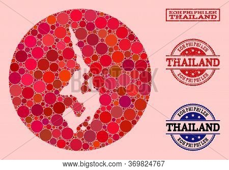 Vector Map Of Koh Phi Leh Mosaic Of Circle Blots And Red Grunge Stamp. Stencil Circle Map Of Koh Phi