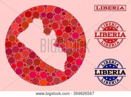 Vector Map Of Liberia Collage Of Spheric Dots And Red Rubber Stamp. Stencil Round Map Of Liberia Col
