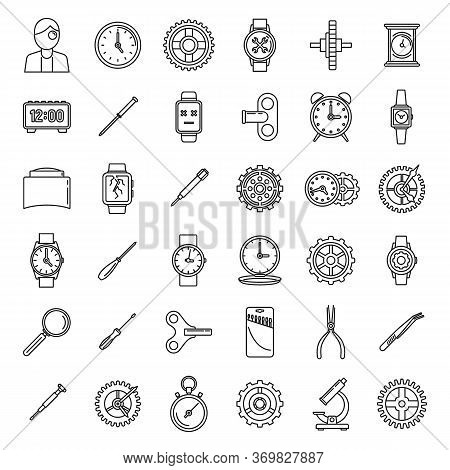 Mechanic Watch Repair Icons Set. Outline Set Of Mechanic Watch Repair Vector Icons For Web Design Is