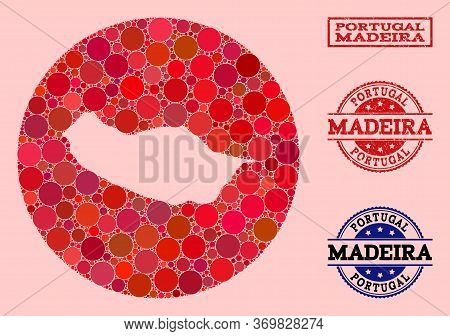 Vector Map Of Madeira Island Mosaic Of Spheric Blots And Red Rubber Stamp. Subtraction Circle Map Of