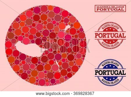 Vector Map Of Madeira Islands Collage Of Round Blots And Red Scratched Stamp. Subtraction Round Map
