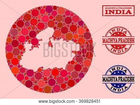 Vector Map Of Madhya Pradesh State Collage Of Round Elements And Red Rubber Seal Stamp. Hole Round M