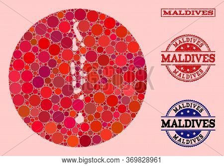 Vector Map Of Maldives Collage Of Circle Elements And Red Grunge Seal Stamp. Stencil Circle Map Of M