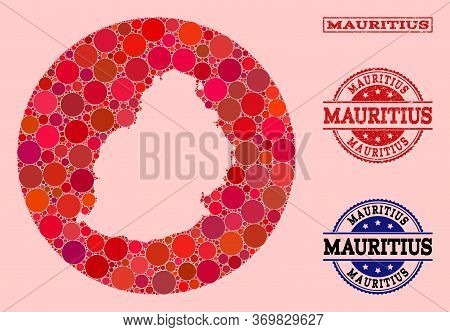 Vector Map Of Mauritius Island Collage Of Round Blots And Red Scratched Seal Stamp. Subtraction Roun