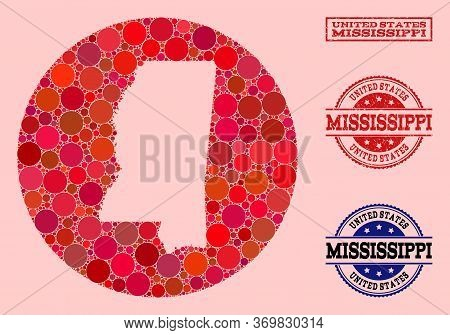 Vector Map Of Mississippi State Mosaic Of Circle Items And Red Grunge Seal Stamp. Hole Circle Map Of