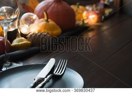 Fall Dark Place Setting With Pumpkins, Autumn Harvest, Apples, Cone,dry Maple Leaves. Horizontal Ori