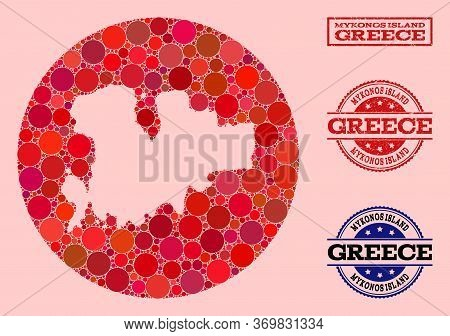 Vector Map Of Mykonos Island Collage Of Round Elements And Red Watermark Seal Stamp. Stencil Circle