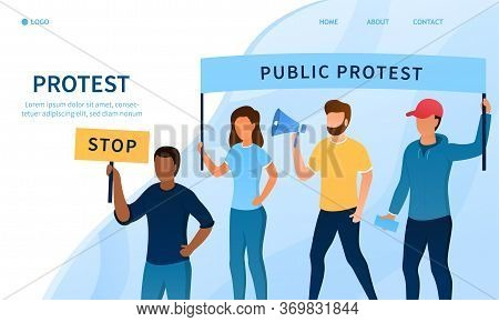 Protest Concept. Group Of People On The Street With Banners. The Struggle For Human Rights. Workers