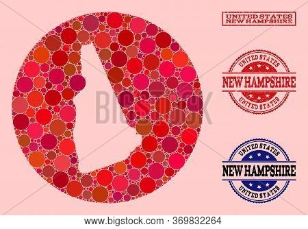 Vector Map Of New Hampshire State Mosaic Of Circle Elements And Red Rubber Seal. Subtraction Round M