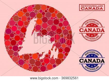 Vector Map Of Newfoundland Island Collage Of Round Items And Red Rubber Seal. Hole Round Map Of Newf