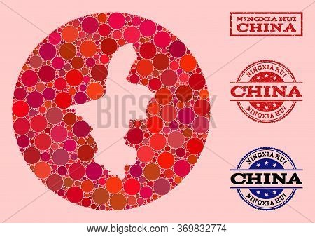 Vector Map Of Ningxia Hui Region Collage Of Spheric Blots And Red Grunge Seal Stamp. Hole Circle Map