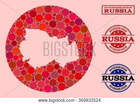 Vector Map Of Novosibirsk Region Collage Of Round Dots And Red Scratched Seal Stamp. Hole Round Map