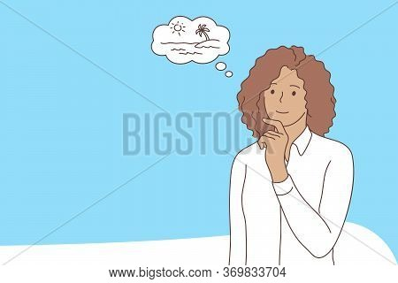 Business, Dream, Thinking Concept. Young Pensive African American Businesswoman Office Clerk Manager