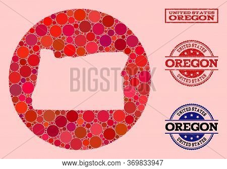 Vector Map Of Oregon State Collage Of Circle Dots And Red Watermark Seal. Subtraction Circle Map Of