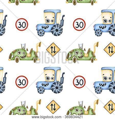 Cute Cartoon Cars Seamless Pattern. Tractor, Cyberpunk Machine, Road Signs Seamless Pattern.