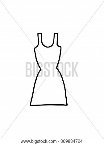 Vector Illustration Of A Women S Dress With Straps And A Tight Skirt. Hand Drawn Doodle With Black S