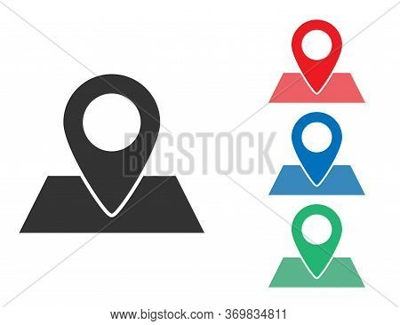 Map Pin Tag. Location Marker. Navigation Position Pointer. Place Point In Black, Green, Blue And Red
