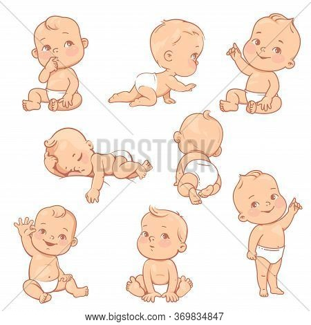 Set With Cute Little Baby Boy In Diaper