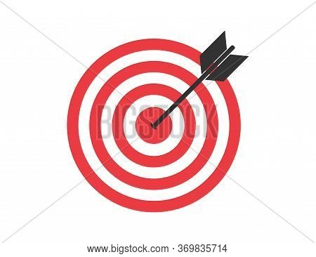 Target With Arrow. Aim With Red Circles. Goal Icon. Idea For Marketing And Business. Aiming For Arch