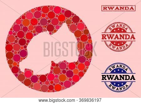 Vector Map Of Rwanda Collage Of Round Blots And Red Rubber Stamp. Stencil Round Map Of Rwanda Collag