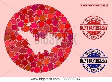 Vector Map Of Saint Barthelemy Mosaic Of Round Blots And Red Grunge Stamp. Hole Round Map Of Saint B