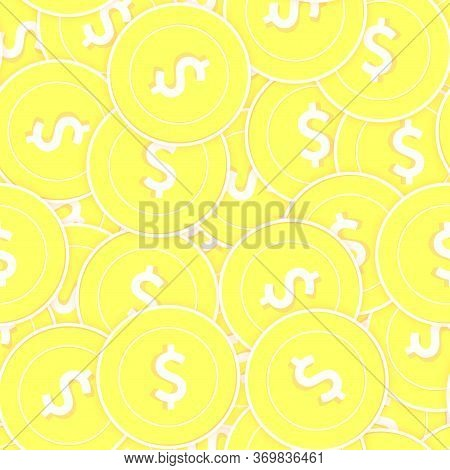 American Dollar Gold Coins Seamless Pattern. Extraordinary Scattered Yellow Usd Coins. Success Conce