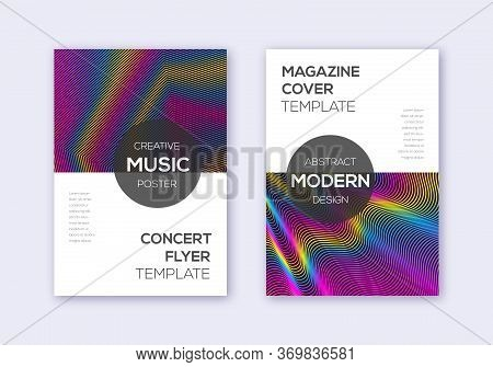 Modern Cover Design Template Set. Rainbow Abstract Lines On Wine Red Background. Exquisite Cover Des