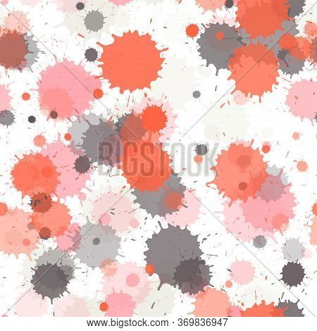 Watercolor Transparent Stains Vector Seamless Grunge Background. Artistic Ink Splatter, Spray Blots,