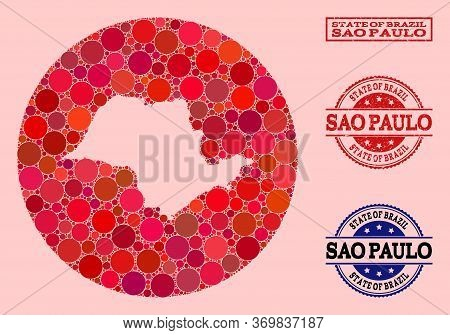 Vector Map Of Sao Paulo State Mosaic Of Round Elements And Red Grunge Seal. Hole Round Map Of Sao Pa