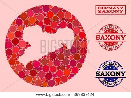 Vector Map Of Saxony State Collage Of Circle Blots And Red Scratched Stamp. Stencil Circle Map Of Sa